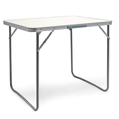 Wiltec Aluminium Camping Klapptisch mit 80x60cm weißer Tischplatte MDF mit Alu-Rahmen Koffertisch Falttisch