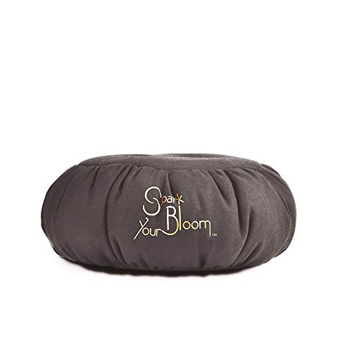 SparkYourBloom Cojin de meditación Yoga Zafu Refuerza Cojín Mindfulness | Beanbag Relleno de Perlas de poliestireno 100% | Ayudante de Postura | Lavable a máquina (Gris Oscuro)