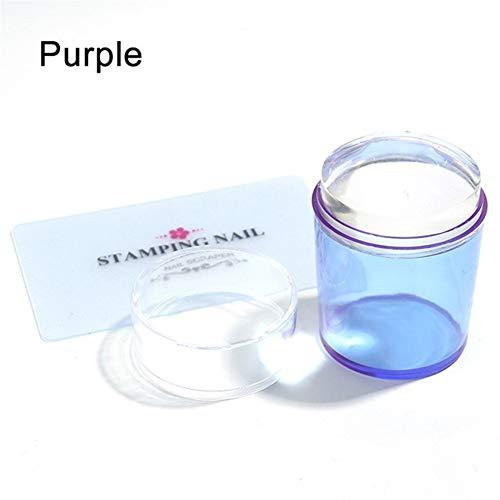 SSGLOVELIN 1set Silicone Head Jelly Nail Stamper Rouge Bleu Violet Art Modèles avec Plaque Scraper Cap Manucure Nail Art Outil Beau (Color : Red)