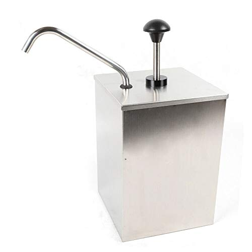 Single Head Stainless Steel Sauce Pump, 4L Oil Vinegar Cruet Condiment Bucket Dressing Sauce Dispenser Pour Pump Squeeze Salad Jam Dispensing Machine for Home Restaurant