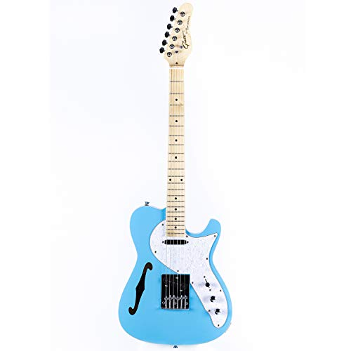 Grote Electric Guitar Semi-Hollow Body Single F-Hole Gloss Pain Tele Style Guitar Full-Size Basswood with Canadia Maple neck Chrome Hardware Picks (blue)