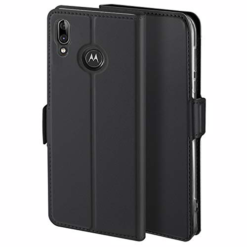 HoneyHülle für Handyhülle Motorola Moto E6 Plus Hülle Leder Premium Tasche Hülle für Motorola Moto E6 Plus, Schutzhüllen aus Klappetui mit Kreditkartenhaltern, Ständer, Magnetverschluss, Schwarz