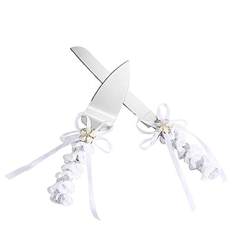 TANG SONG Stainless Steel Elegant Wedding Cake Knife and Serving Set Resin Plastic Handle Pearl Flower Shape with Lace Wedding Cake Knife and Shovel