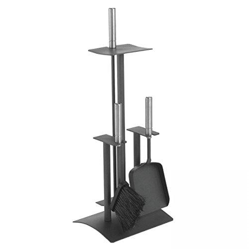 Lienbacher Serviteur de cheminée 3 pièces avec poignées en inox brillant Noir