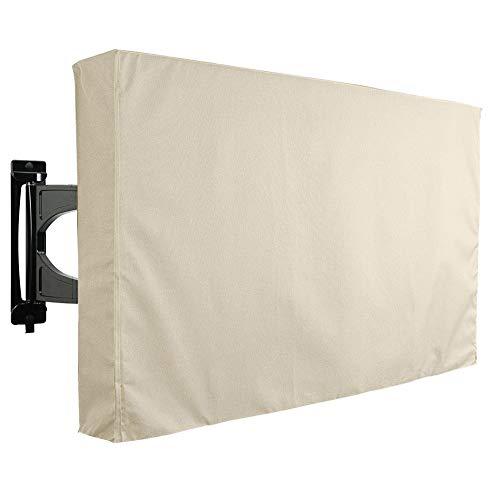 FEIYUGN Cubierta de televisión al Aire Libre con Cubierta Inferior - Beige de Servicio Pesado Resistente a la Intemperie Protector Universal for LCD, LED, televisores de Plasma FEIYU