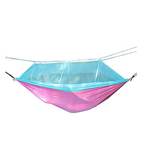 Vacation equipment Hammock - Lightweight nylon parachute aviation material camping large adult hammock with mosquito net and tree strap, lightweight outdoor sleep swing chair, rollover prevention, chi