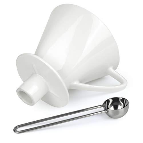 Caffé Italia Permanent Kaffeefilter Größe 4 mit Aufsatz für 2-4 Tassen - Handfilter Kaffee - Porzellan Kaffeefilter - Dauerfilter für Kaffeefiltertüten - Weiß