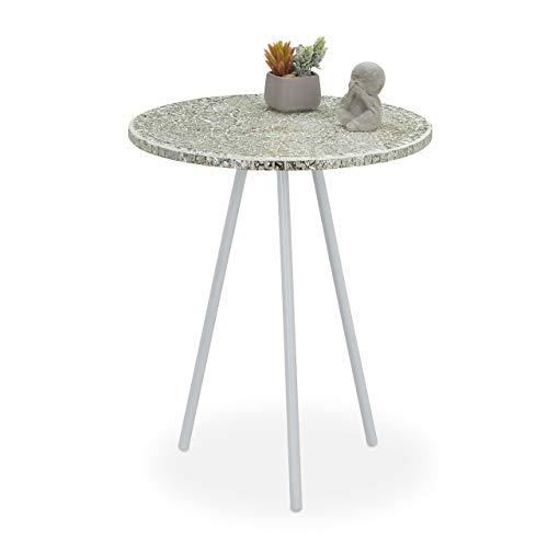 Relaxdays Beistelltisch Mosaik, runder Ziertisch, handgefertigtes Unikat, 3 Beine, Mosaiktisch, HxD: 50 x 41 cm, Creme, 50, 00 x 41,00cm