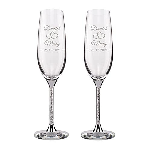 Yu Liao Copas de champán de Boda Personalizadas, Flautas de Cristal con...
