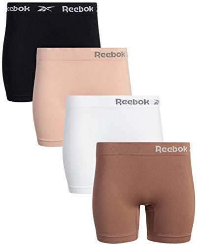 Reebok Women's Underwear - Seamless Long Leg Boyshorts (4 Pack), Size Medium, Rose/White/Brown/Black