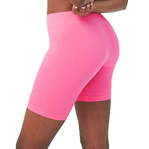 sissycos Damen Leggings Kurz, 2-in-1-Laufhose High Waist Radsport-Shorts, Sanft Nahtlose Sportshorts für Fitness Yoga Sweatpants 1/2(Rosa,XS-S