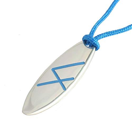 Silber Schmuck Anhänger Surfboard Surfbrett Linie Blau Grösse L