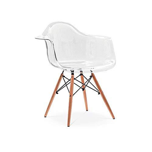 Cadeira Charles Eames Wood - Com Braço - Policarbonato Transparente