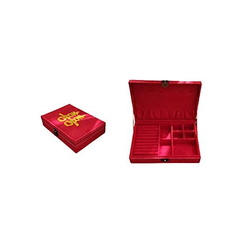 BRONCE BLOQUEO JOYERÍA CHINA Caja de almacenamiento de bordado de gama alta Caja de anillos de pulsera Caja de reloj Caja de joyería-Gran rojo