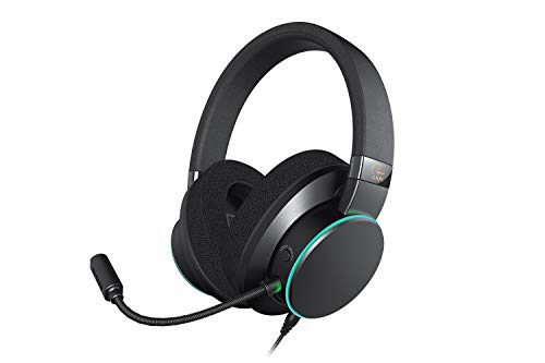 Creative SXFI AIR C USB Headphones with Super X-Fi Audio Holography Technology, 50mm Drivers, Detachable ClearComms Microphone, and RGB Light Ring for Movies, Music, and Games