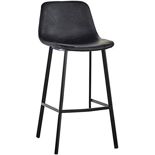 Hedendaagse barkruk met zwarte kunstlederen zitting, keukeneiland barkruk, zithoogte 65 cm / 75 cm