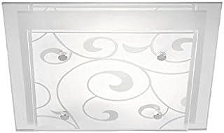 Lámpara de techo para dormitorio, E27, cristal satinado, decoración (lámpara de pasillo, salón, pasillo, rectangular, 33,5 cm)