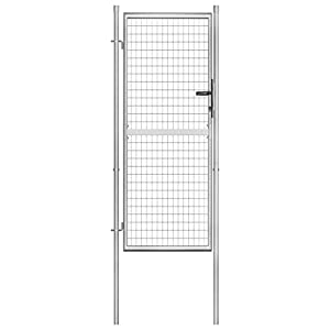 vidaXL Puerta de jardín, puerta de valla de jardín, puerta de valla de jardín, puerta de valla de metal, puerta única, puerta de patio, acero galvanizado, 105 x 250 cm, color plateado