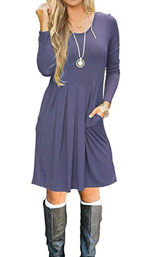 AUSELILY Women's Long Sleeve Pleated Loose Swing Casual Dress with Pockets Knee Length (L, Purple Gray)
