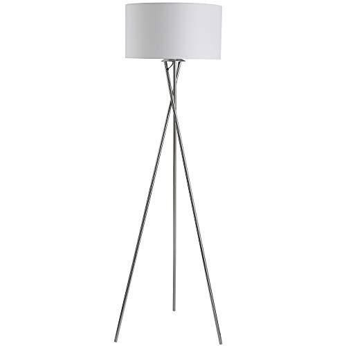HOMCOM Stehlampe, Standleuchte mit Stoffschirm Dreifache Metallbasis,Metall+PS+Stoff(Polyester, Baumwolle), Silber+Weiß 48 x 48 x 162 cm
