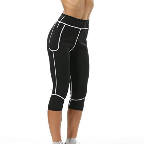 Gewichtsverlust Hosen Neoprenhose Damen Sauna Hosen Sport Yoga Leggings Hohe Taille zum Schwitzen Fettverbrennung Abnehmen (Schwarz und weiß, M)