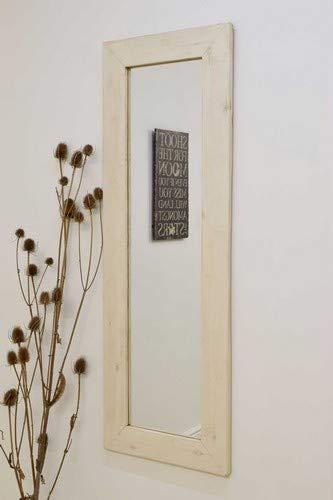 Grande décoration Murale en Bois Massif Blanc Nartural Coiffeuse Miroir 4 Traditionnel X 1 Traditionnel, 142 cm x 51 cm