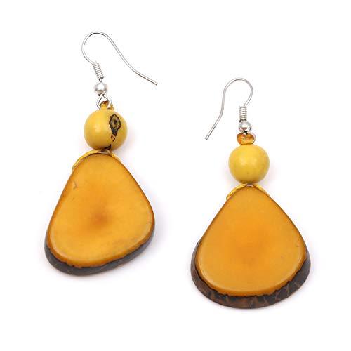 Idin handgemaakte oorbellen – gele dagua-schijven en acai-bessen (ca. 6 cm).