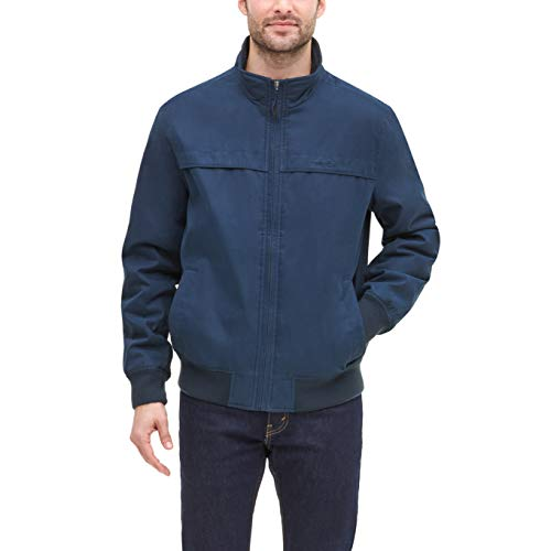 Dockers Men's Micro Twill Golf Bomber Jacket, Navy, Large