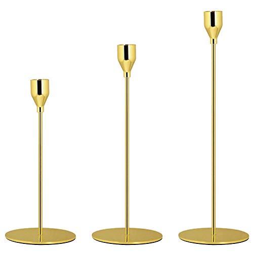 Queta Candelabro Creativo di Ferro, Conici 3 Pezzi Candeliere 32/28/23 cm, per Decorazioni per Casa E Giardino,la casa da Pranzo (d'oro)