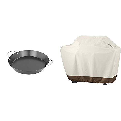 Campingaz Paellapfanne, antihaftbeschichtet, für das Culinary Modular System Ø 35 cm, Höhe 8 cm, verchromte Griffe & AmazonBasics Grillabdeckung, Gurte mit Click-Verschluss, Gr. L