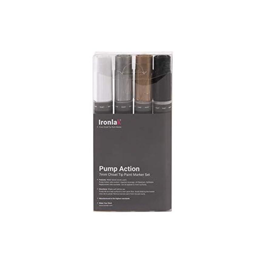 Ironlak Pump Action – 7mm Chisel Tip Acrylic Paint Marker Pen Sets (4 Pack, Creative Colors Set)