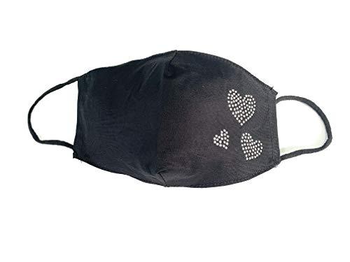 Viannchi Mascarilla lavable de Mujer, Talla M, color Negro con aplicación corazones en Strass,protección filtración alta, fabricada en España.