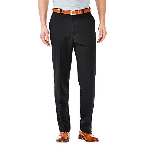 Haggar Men's Cool 18 Hidden Expandable-Waist Plain-Front Pant Black 44x29