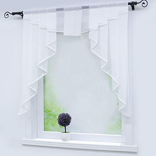 Joyswahl Sheer Voile Swag Curtains Window Valance Rod Pock Pleated Roman Shades Kitchen Curtain 1pc (White,W31 x H31inch)