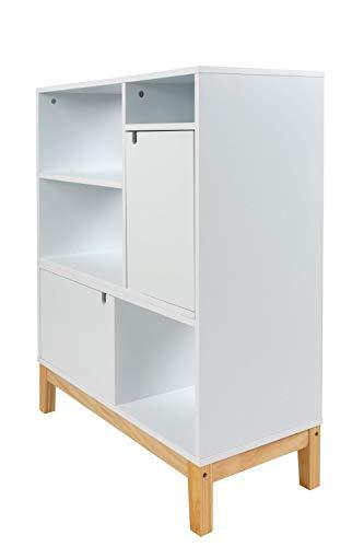 Design Sideboard Modern Schrank Regal Scandi Skandinavisch Weiß Holz