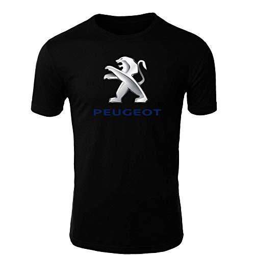 Peugeot T-Shirt Logo Clipart Herren CAR Auto Tee TOP Black White Short Sleeves (L, Black)