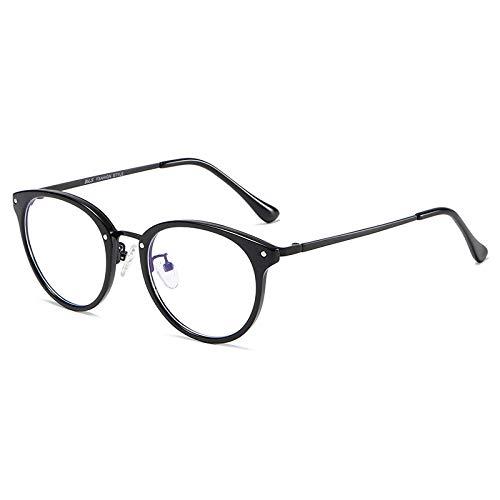 Qier Gafas Bloqueo Luz Azul,Lentes Ultraligeros con Montura Redonda para Mujeres Y Hombres, Gafas Antirradiación para Lectura De Fatiga Visual, Gafas para Juegos De Computadora, Negro