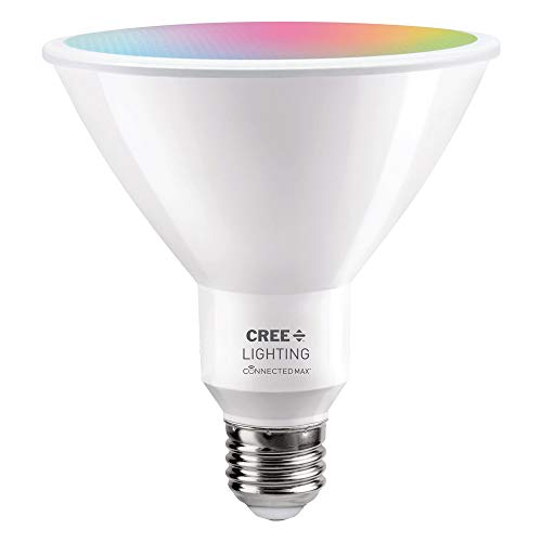 Cree Lighting Connected Max Smart LED Bulb PAR38 Outdoor Flood Tunable White + Color Changing, Works with Alexa and Google Home, No Hub Required, Bluetooth + WiFi, 1pk