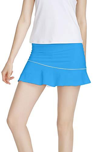 Meja Falda de Tenis de Mujer Elástica de Secado Rápido Activo Performance, Pantalones Cortos para Correr Golf Casual Falda, Mujer, azul, medium