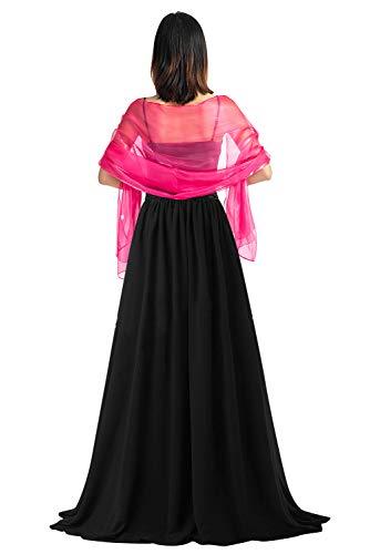 YAOMEI Mujer Bufanda Chales Estolas Satén, Mujer Verano Mantón Estolas Fulares Bufanda Pañuelo bodas nupcial bridemaids Ropa de noche partido (70 * 28 pulgadas (170cm * 70cm), Rose)