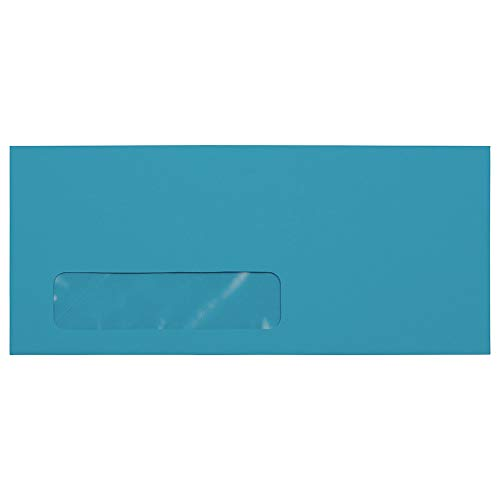JAM PAPER #10 Business Colored Window Envelopes - 4 1/8 x 9 1/2 - Blue Recycled - 25/Pack