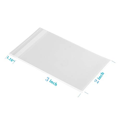 300ct Adhesive Tiny Clear Bags 2x3-1.4 mils Thick Self Sealing OPP Poly Bags for Jewelry Candies (2'' x 3'' x 300ct)