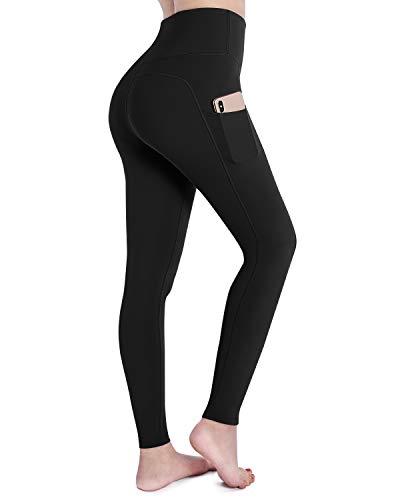 OUGES Damen Sport Leggings Sporthose Lang Yoga Hose High Waist mit Taschen Blickdicht Leggins(A-Schwarz,L)