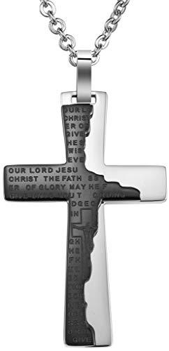 Abellale - Collar de Acero Inoxidable para Mujer y Hombre, Cadena con crucifixus, 3,3 x 5,3 cm, Color Negro