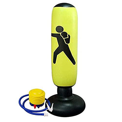 JOWY Saco de Boxeo Inflable. Saco de Boxeo Hinchable para Niños con hinchador Incluido. Base de Relleno con Agua o Arena, sujeción. 160cm Alto (Amarillo)