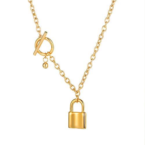ATEIELLI Collana Serratura da Donna Ploccato Oro Rosa Acciaio Inossidabile Chiusura a T JWC12 (Oro)
