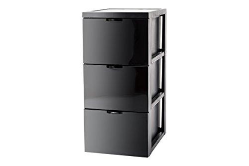 Iris SCF-303 Style Chest Flat Design Schubladenschrank/Schubladenbox/Rollwagen/Rollcontainer, mit Rollen, flach, Kunststoff, schwarz