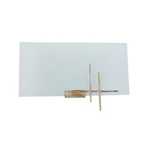 Tosel 30262 Armature métal Fil Acier Peinture époxy, Verre satinée, E27, 40 W, Blanc et Or, 30 x 7, 5 cm