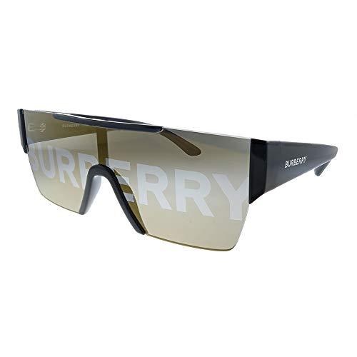 Burberry BE 4291 3001/G Black Plastic Rectangle Sunglasses Gold Mirror Lens