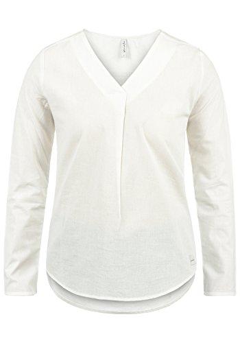 BlendShe Stacey Damen Lange Bluse Langarm Mit Streifen-Muster Und V-Ausschnitt Aus 100% Baumwolle Loose Fit, Größe:S, Farbe:Snow White Solid (20006)